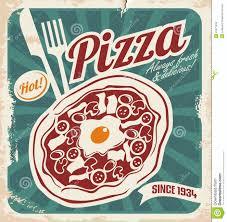 retro pizza sign poster template or pizza box design stock