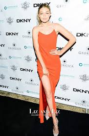 backless dress gigi hadid orange backless dress ovarian cancer research dinner