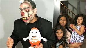 Scary Family Halloween Costumes by Bad Baby Vs Scary Clown Mask Steals Chocolate Family Fun Video