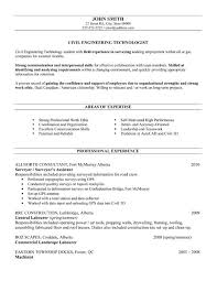 Employment Resume Sample by Civil Engineering Technology Student With Field Experience In