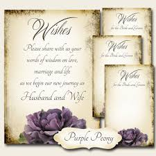 wedding wish cards purple peony set of wedding wish sign and tags wish tree cards