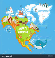 World Map Cartoon by Cartoon Map Of North America Continent With Rivers Mountains And