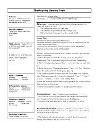 thanksgiving sensory poem lesson plan lesson plan poetry