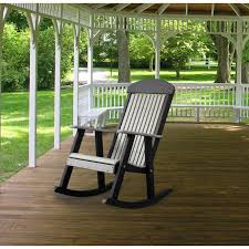 Porch Rocker Dove Gray And Black Poly Furniture Made In USA - Patio furniture made in usa