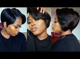 black hair 27 piece with sidebob diy tapered bob lace frontal and wig
