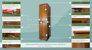 Solid Pine Wardrobes Tall Narrow 1 Door Wardrobe 003 Solid Pine Wood Oak Finish