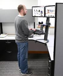 Sit Stand Adjustable Desk by Taskmate Go Dual Monitor Sit Stand Workstation Standing Desks