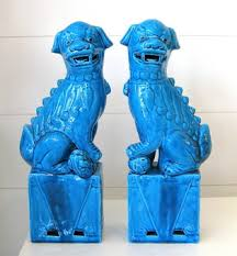 fu dogs chinoiserie chic blue fu dogs