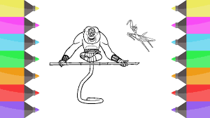draw kung fu panda master monkey master mantis colouring