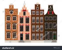 traditional european houses traditional amsterdam dutch style houses european stock vector