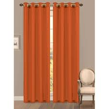 Orange And Beige Curtains Semi Opaque Orange Grommet Curtains U0026 Drapes Window
