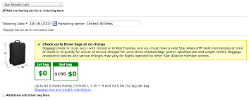united checked bag united airlines guts baggage allowance for star gold running with