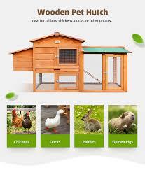 Pet Hutch Wooden Chicken Coop Rabbit Hutch Guinea Pig Ferret Cage Hen House