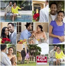 Haus Zu Kaufen Eine Glückliche African American Mann Und Frau Paar Lifestyle