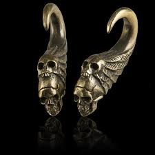 brass skull ear weights tribu