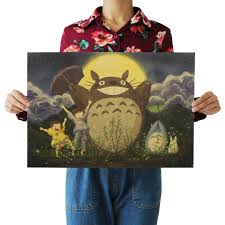 online get cheap totoro wall sticker aliexpress com alibaba group bearoom home decoration wall stickers retro kraft paper my neighbor totoro poster for kids room decal