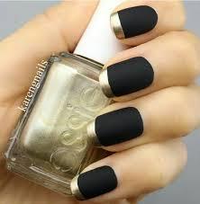 matte black nail polish with gold tips mani pedi