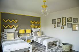 grey accent wall for small bedroom ideas with zigzag carpet and