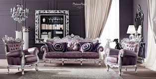 Silver Living Room by Vogue Salon With Purple Upholsteries And Furniture Decorated With