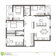 linear architectural sketch plan four bedroom apartment stock apartment bedroom