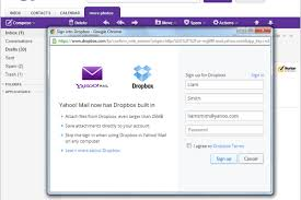 Yahoo Sign In Yahoo Mail Adds Dropbox Attachment Support Deepens Cloud