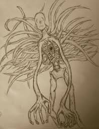 my drawing of the slenderman without his suit slender man