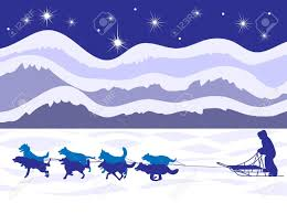 musher and dog sled by moonlight beautiful royalty free cliparts