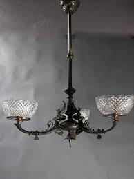 Gas Chandelier Genuine Antique Lighting 3 Light Neo Grec Revival Gas