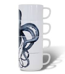 cute and cool unique octopus graphic novelty stacking coffee mugs