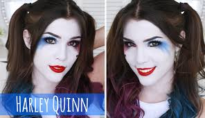 harley quinn makeup u0026 hair tutorial easy halloween costume ideas