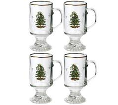 spode tree glass coffee mugs set of 4 qvc