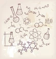 set of hand drawn science glass chemical equipment old paper
