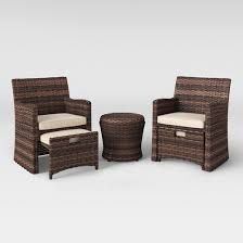 5 patio set halsted 5 wicker small space patio furniture set threshold