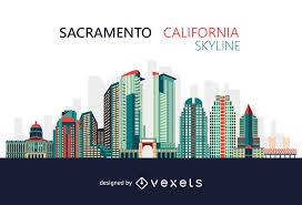 Sacramento City Flag Colorful Sacramento California Skyline Vector Download