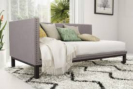 modern daybed dorel home furnishings mid century grey linen upholstered modern