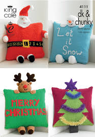 knitted christmas 4111 king cole dk chunky christmas novelty cushion knitting