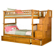 Bunk Beds With Trundle Natural Polished Oak Wood Twin Bunk Bed With Trundle And Storage
