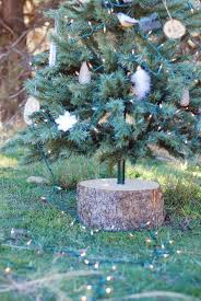 rustic wood stump tree base stand for artificial tree