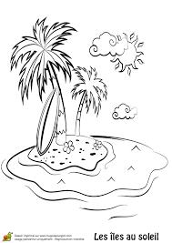 coloriage d u0027une ile déserte avec une planche de surf adossée à un