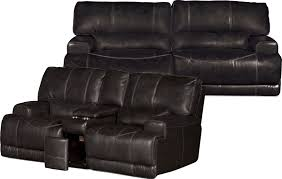 charcoal leather match 3 piece power reclining sectional