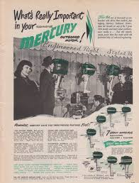 1950 mercury outboard motor ad with 7 models shown vintage