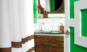 Bathroom Accent Table Wood Accent Wall Featuring Rectangular Black Finish Varnished