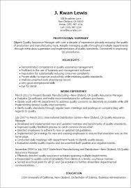 quality assurance resume quality assurance lead resume amazing qa manager summary