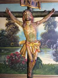 wood crucifix large and polychrome carved wood crucifix colonial school