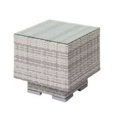rattan side table outdoor corliving azure outdoor patio wicker side table with glass top