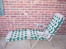 Aluminum Web Lawn Chairs Vintage Aluminum Folding Multi Position Web Chaise Lounge Chair