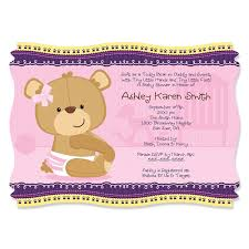 baby girl invitations baby girl teddy personalized baby shower invitations