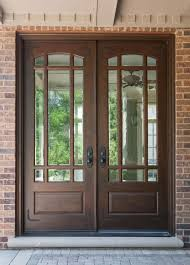 nice brown door design ideas can be combined with brick wall can