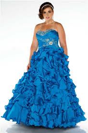 gown strapless blue ruffles beaded plus size quinceanera party