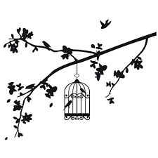 birds on a branch clipart black and white collection